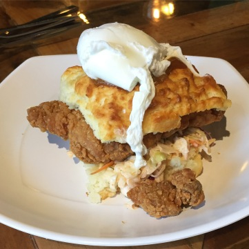 Mimosa-fried chicken biscuit